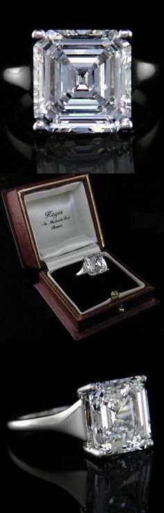 7.04 Diamond Ring A magnificent and rare diamond solitaire ring. The square emerald cut diamond is GIA certificated, 7.04carat Colour F Clarity VS2. Handmade platinum setting.