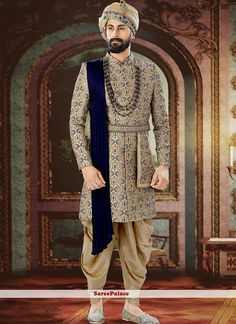 Beige ready made sherwani with attached dupatta. Blazer For Men Wedding, Sherwani For Men Wedding, Wedding Dresses Men Indian, Wedding Outfits For Groom, Groom Wedding Dress, Sherwani Groom, Wedding Men, Men's Wedding Wear, Ethnic Wedding