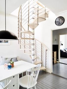 A well-used duplex Small Space Living, Small Spaces, Minimalist Showers, Rooftop Terrace Design, Attic Bedrooms, House Stairs, Grey Flooring, Grey Walls, Home Decor Trends