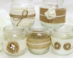 Burlap Mason Jar Wedding Decorations - Burlap tea light candle holders wedding centerpieces, guest table decor, mantlepiece decoration
