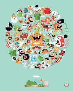 Tributos ilustrados a Super Mario Bros, por Christophe Lee » MONSTERBOX | caixa de monstros