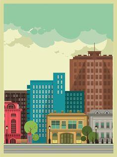 City background by Алена Шипилова, via Behance