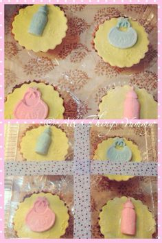Baby Shower Cupcakes - Yellow Fondant Baby Shower Cupcakes with Blue and Pink Bibs and Pacifiers | All Things Yummy #allthingsyummy #babyshower #cupcakes #fondant