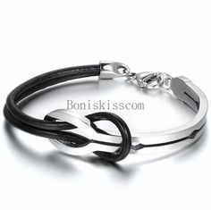 Love Infinity Stainless Steel Buckle Men Women Leather Bracelet Cuff Bangle #Unbranded #Cuff