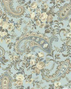 Gatsby's Flora - Opulent Bouquets - Powder Gray Paisley Wallpaper, Paisley Art, Paisley Design, Fabric Wallpaper, Paisley Pattern, Pattern Wallpaper, Textiles, Textile Patterns, Textile Prints