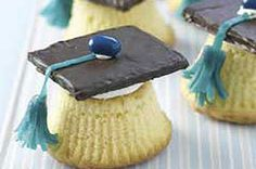 Cupcake graduation caps. They look cute!....this but red velvet cake and red tassles!