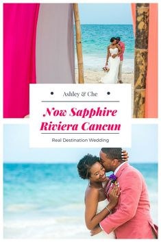 Real destination wedding on the beach in Cancun, Mexico! FOLLOW US for more stunning beach wedding inspiration! (Wedding Photography by Fun In The Sun Weddings) https://funinthesunweddings.com/wedding-stories/ashley-che-beach-wedding-now-sapphire-riviera-cancun/