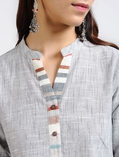 Grey Handloom Cotton Kurta with Pleats Neck Designs For Suits, Sleeves Designs For Dresses, Neckline Designs, Blouse Neck Designs, Collar Kurti Design, Kurti Sleeves Design, Kurta Neck Design, Simple Kurti Designs, Kurta Designs Women