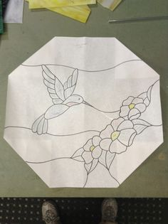 Pattern for hummingbird octagon by Sandy Burnett (at KOG)