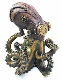 Ebros Steampunk Giant Kraken Octopus Marauder Statue Deep Sea Military Cephalopod Unit Figurine Decor For Sci Fi Fantasy Lovers Steampunk Kunst, Steampunk Octopus, Steampunk Design, Gothic Steampunk, Steampunk Clothing, Victorian Gothic, Steampunk Fashion, Gothic Lolita, Octopus Robot