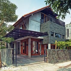 Sosok bangunan modern tropis mudah dikenali berkat pemilihan material yang khas dari bata merah ekspos dengan kombinasi beton ekspos.