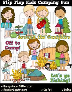 Flip Flop Kids Camping Fun Clip Art, Commercial Use, Clipart, Digital Image, Png, Graphic, Digital, Instant Download, Camper,…