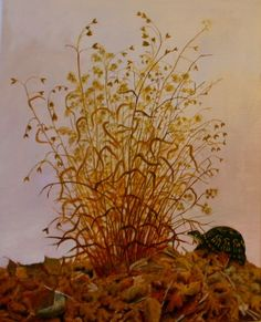 "Box Turtle in Autumn, 2014, oil on canvas, 16"" x 20"", $95 unframed"