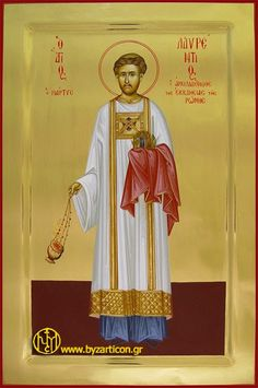 Saint Lawrence of Rome as a Model for our Lives Byzantine Icons, Byzantine Art, Religious Images, Religious Art, Best Icons, Orthodox Icons, Our Life, Style Icons, Saints
