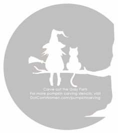 Witch and Cat Sitting on a Tree - Halloween Pumpkin Carving Stencil
