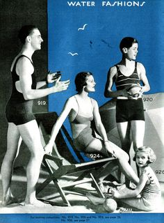 Vintage Monarch Knitting Pattern JPEG Download NOW Bathing Suits for the Family 1930,s 9 Designs