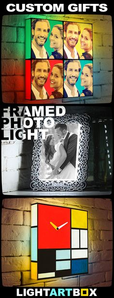 Top 10 Custom Anniversary Gifts, that you've never seen before! Amaze everyone with outstanding photo Light Boxes, Framed Photo Lights and Custom Light Clocks! See more at LightArtBox.com