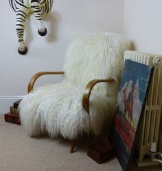 Sheepskin chairs, Designer armchairs and Sheep skin chair, Upholstered in Mongolian wool hardwood frame, Upcycled furniture by Smithers - Ministry of Upholstery £