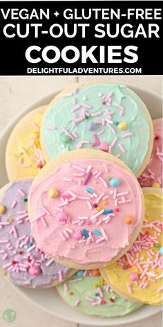 Easy, homemade cut-out gluten-free vegan sugar cookies you can make for Easter, Christmas, Valentine's, and even Halloween…they're perfect for ANY occasion! These vegan gluten-free cookies can be made soft or crispy, it's up to you. And yes, they're 100% egg-free, dairy-free, nut-free, gf, and delicious! Decorate with buttercream frosting or a simple vegan icing that hardens, recipes for both are included. Vegan Gluten Free Cookies, Gluten Free Sugar Cookies, Gluten Free Treats, Free Gf, Egg Free, Dairy Free, Vegan Sweets, Healthy Desserts, Vegan Food