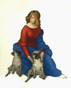 """""""Madonna with ougs"""" oil on canvas 150x120  #dogs #pugs #pug #oilpainting #painting #Madonna #RafaelSanti #renaissance #animals"""