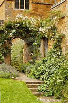 steps to a medieval garden-use as mural behind faux iron gate?