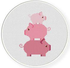 Piggy Tower PDF Cross Stitch Pattern Needlecraft - Instant Download - Modern Chart