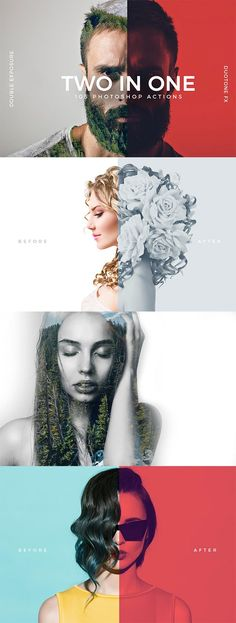 105 Effect Variations Photoshop Actions ( 80 Double Exposure + 25 Duotone Color)