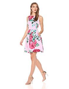 Taylor Dresses Womens Floral Fit and Flare Scuba Dress