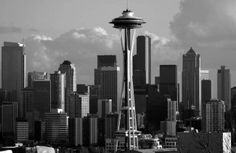 Seattle Skyline Drawing | Seattle City Skyline (black and white) Art Prints by Marilyn Morgan ...
