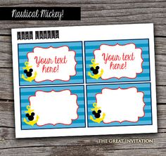 Nautical Mickey Mouse Theme Party Food Tags/ by TheGreatInvitation