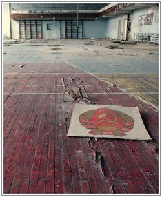 Lost city of Chernobyl. This is a gym, Soviet symbolics is left untouched. Probably no other places in former USSR where it can be found so.