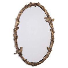 Rustic Vine and Bird Framed Mirror
