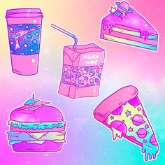 Pastel Galactic Snacks Sticker Pack on Storenvy