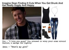 """Imagine Dean Finding It Cute When You Get Drunk And Get Really Giggly And Happy"" by alyssaclair-winchester ❤ liked on Polyvore featuring Juvia, Torrid, imagine, supernatural and DeanWinchester"