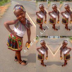 African girls' fashion. Beautiful girl in Zulu style