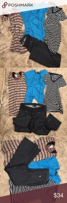 """Maternity Bundle -3 short sleeve tops; a.n.a. Jean Three medium short sleeve (red/gray stripe has tank liner) tops.  The striped tops are both medium and the middle blue is sized L but runs like a medium.  Paired with these is a great like new! Pair of low ride black bootcut jeans; 99% cotton 1% Spandex.  Pants are sized Medium - inseam is 32"""".  Selling as a Bundle - if you wish to itemize please comment.  Pants state Medium so I listed as a size 8. a.n.a Jeans"""