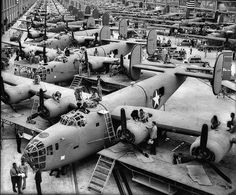 This is the B-24 Liberator bomber production line at Consolidated Aviation, located in a long building just to the west side of what is now Interstate 5 in San Diego across from Old Town