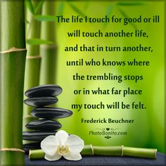 """""""The life I touch for good or ill will touch another life, and that in turn another, until who knows where the trembling stops or in what far place my touch will be felt."""" -Frederick Beuchner Via PhotoBonito.com"""
