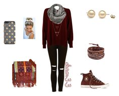 """""""Maroon Winter Outfit"""" by cbear33 on Polyvore featuring Gucci, Kate Spade, Black Rivet, Vintage Addiction, Converse and Chan Luu"""