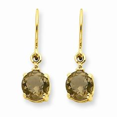 Solid 14k Yellow Gold Brown Simulated Smokey Quartz and Diamond Dangle Earrings (.01 cttw.) (20mm x 5mm) * To view further for this item, visit the image link.
