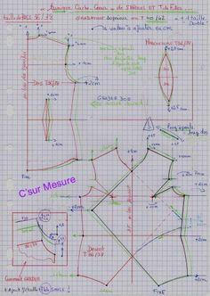 Diy : tunique cache-coeur (S et T de fille),Gradation enT40/42.