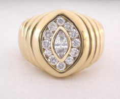 Mans Diamond Ring 1ct Diamond Total Bezel Marquise and Channel Rounds Set in Solid 14K Gold and Comes with Full Appraisal by americanjewelryco, $1090.00