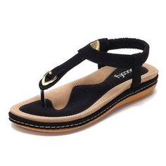 dd902d213ee2 SOCOFY Comfortable Elastic Clip Toe Flat Beach Sandals Bohemian Sandals