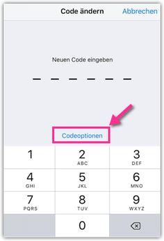 vierstelligen statt sechsstelligen Code eingeben bei Codeoptionen Iphone, Bar Chart, Ipad, First Aid Only, School, Tutorials