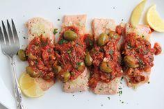 Salmon in Lemon Olive Sauce is simple and satisfying. #GoingGlutenFree #Salmon #GlutenFree