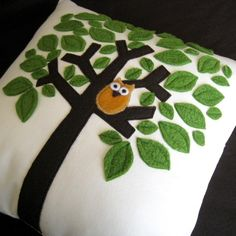 Little owl in a tree pillow