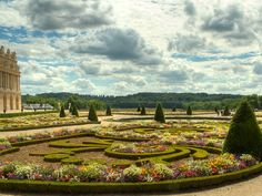 The immaculately sculpted gardens of the Palace of Versailles in full bloom in France's Ile-de-France region.