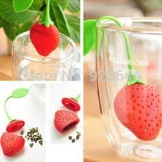 Silicone Strawberry conception en vrac Herbal Tea Leaf passoire Spice infuseur outils de filtrage 2014 nouvelle livraison gratuite