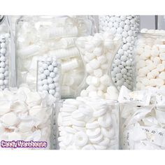 Need a candy buffet to spice up your wedding or holiday party but don't know where to start? Use Candy Warehouse's buffet builder to make your candy bar a hit! Candy Table, Candy Buffet, White Candy Bars, Online Candy Store, White Bridal Shower, All White Party, Wedding Candy, Simple Weddings, Decoration