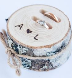 Rustic ring bearer pillow wedding wood slice rustic ring box wedding decoration wood wedding decor ring pillow alternative by DINDINTOYS Wedding Vows, Rustic Wedding, Wedding Rings, Wedding Cakes, Wedding Unique, French Wedding, Bouquet Wedding, Wedding Wishes, Wedding Band
